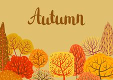 Background with autumn stylized trees. Landscape seasonal illustration Vector Illustration