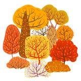 Background with autumn stylized trees. Landscape seasonal illustration Royalty Free Illustration