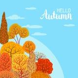 Background with autumn stylized trees. Landscape seasonal illustration Stock Photos