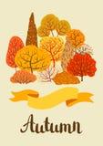Background with autumn stylized trees. Landscape seasonal illustration Royalty Free Stock Photos