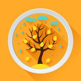 Background with autumn tree in flat design style Royalty Free Stock Photos