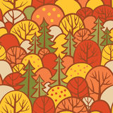 Background with autumn trees. Seamless tree pattern with forest illustration in vector Royalty Free Stock Images