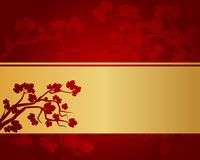 Background with autumnal leaves. Abstract background with autumnal leaves and golden ribbon vector illustration