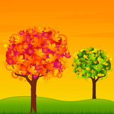 Background with autumnal tree with leaves. Royalty Free Stock Images