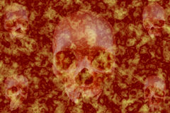 Background awesome skulls in red flame Royalty Free Stock Photography