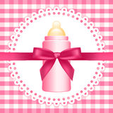 Background with baby bottle. Vector pink background with baby bottle royalty free illustration