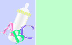 Background with baby bottle. Blue-green background with baby bottle and letters Stock Photos