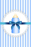 Background with baby bottle and bow Royalty Free Stock Photos