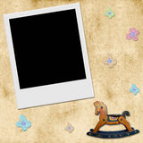 Background baby photo frame vintage. Picture frame bottom and babies, old style Stock Image