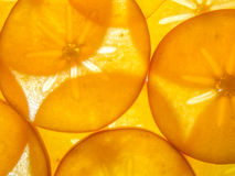 Background of back lit ripe kaki persimon slices arranged Royalty Free Stock Photos