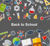 Background back to school with training accessories of schools. Stock Photo