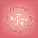 Background with badge and greeting Happy Mother s Day. Abstract retro light frame. Realistic color garlands, festive. Decorations. Glowing lights. Vector Royalty Free Stock Images