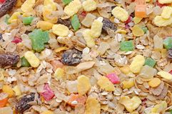 Background of baked corn flakes and musli Royalty Free Stock Photos