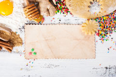 Background baking. Ingredients for ginger cookies. Stock Photos