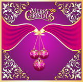 Background with ball on cristmas and gold pattern Stock Images
