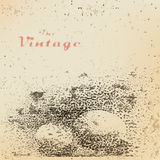 Background ball with shadow engraved dots and spots. On faded worn paper in vintage style Stock Images