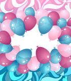 Background from balloons in blue pink lilac colors Royalty Free Stock Photo