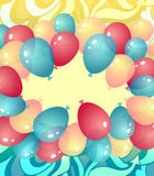 Background from balloons in blue red yellow colors. Background from balloons and abstract drawing  in blue red yellow colors or template invitation or Royalty Free Stock Image