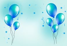 Background with balloons. Celebration background with blue balloons decoration illustration Royalty Free Stock Photo