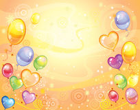 Background with balloons. Colorful holiday background with balloons and confetti. Vector Stock Image