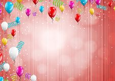 Background with balloons and confetti Stock Photo