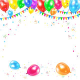 Background with balloons and confetti. Holiday background with colored balloons, pennants, tinsel and confetti, illustration Royalty Free Stock Photography