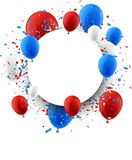 Background with balloons and confetti. Round background with blue and red balloons and confetti. Vector illustration Royalty Free Stock Photos