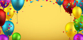 Background with balloons and confetti. Yellow background with colour balloons and confetti. Vector illustration Stock Photography
