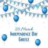 Background with balloons and with a garland from Greece flags Stock Image