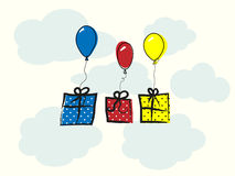 Background with balloons and gift box Royalty Free Stock Images