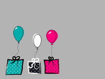 Background with balloons and gift box Stock Photos