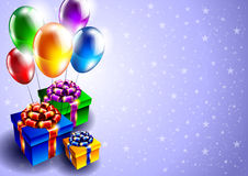 Background with balloons and gift boxes Stock Photos