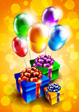 Background with balloons and gift boxes Royalty Free Stock Image