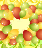 Background from balloons in green red yellow colors. Background from balloons and abstract drawing  in green red yellow colors or template invitation or Stock Photo
