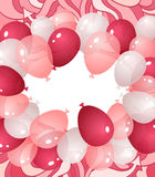 Background from balloons in pink red white colors. Background from balloons and abstract drawing  in pink red white colors or template invitation or Royalty Free Stock Photos