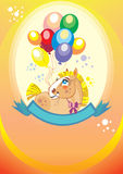 Background with balloons and pony. Colorful holiday background with balloons and pony. Vector Stock Photo