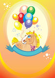 Background with balloons and pony. Colorful holiday background with balloons and pony. Vector Royalty Free Stock Photography