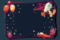 Background with balloons, presents, rocket ship and planets Royalty Free Stock Photography
