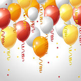Background with balloons and serpentine Stock Photography