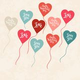 Background with balloons in the shape of heart Royalty Free Stock Photo