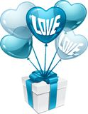 Background with balloons in the shape of heart and Stock Photo