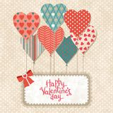 Background with balloons in the shape of heart and Royalty Free Stock Image