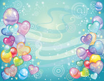Background with balloons turquoise. Colorful holiday background with balloons and confetti. Vector Royalty Free Stock Photos