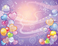 Background with balloons_violet. Colorful holiday background with balloons and confetti. Vector Royalty Free Stock Photo