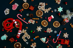Background with balls, Christmas cookies, snowflakes and oranges Royalty Free Stock Photos