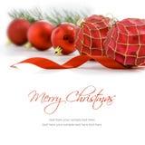 background balls christmas red white Κάρτα Χαρούμενα Χριστούγεννας Στοκ Φωτογραφία