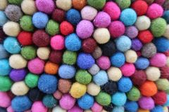 Background with balls, different colorful wool lumps royalty free stock photo
