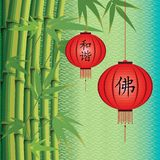 Background with bamboo and Chinese lanterns Stock Image