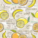 Background with  bananas, oranges and lemons. Royalty Free Stock Photography