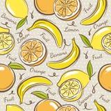 Background with  bananas, oranges and lemons. Royalty Free Stock Photo